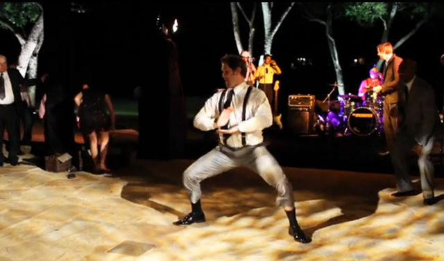 Austin Wedding Video Screen Grab of Groom Dancing at the Reception
