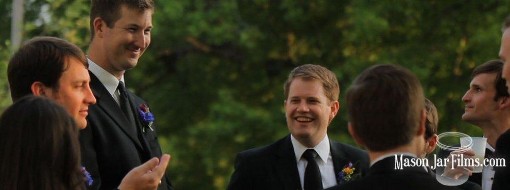 country outdoor wedding pic 13 groomsmen