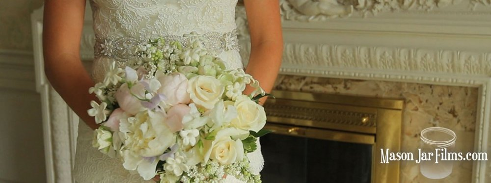 country outdoor wedding pic 14 white and pink bride bouquet