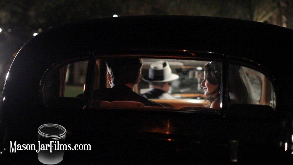 laguna gloria wedding pic classic car limo exit