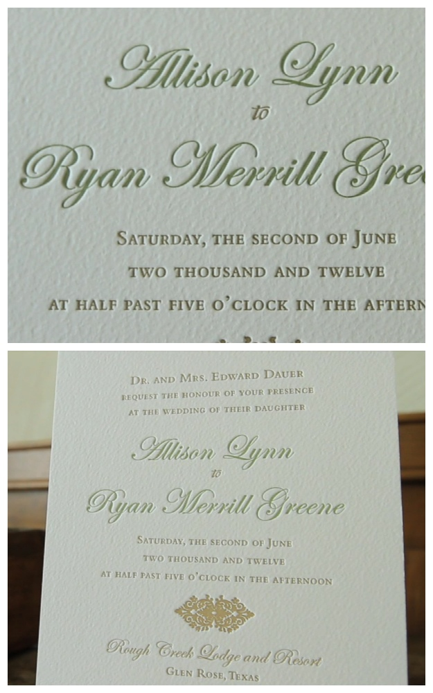 rough creek lodge letterpress invitation wedding video pic 04