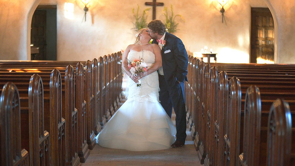 bride and groom at lost mission wedding in Texas