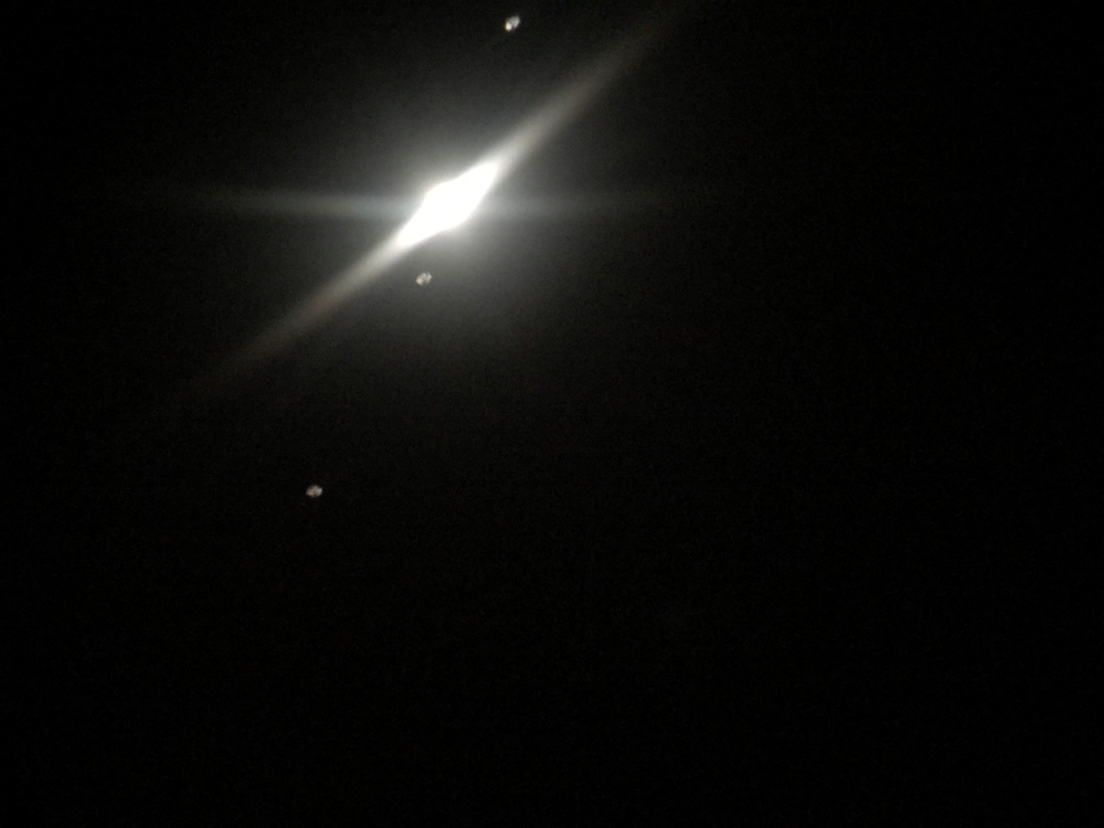Jupiter with three orbiting moons. Photo taken at Montfort on May 8, 2018 using school's Celestron telescope.