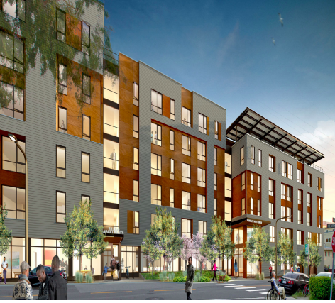 Artist rendering of the proposed Berkeley Way development.