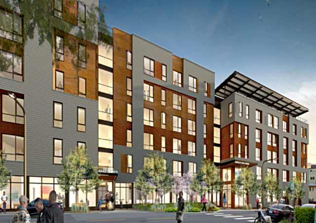 Rendering of the planned Berkeley Way development in downtown Berkeley. When built, it will have 142 units of permanently affordable housing, including an emergency shelter and transitional housing for veterans.