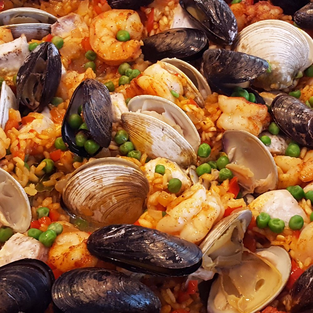 Seafood Paella with clams, mussels & shrimp