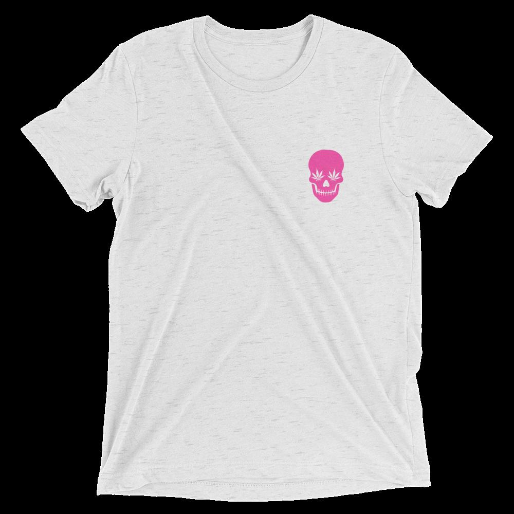 skull_pink-01_thehabitat_pink-01_mockup_Front_Flat_White-Fleck-Triblend-1.png