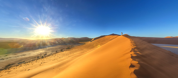 Panorama - Sunrise at Sossus dunes, Namibia, April 2013
