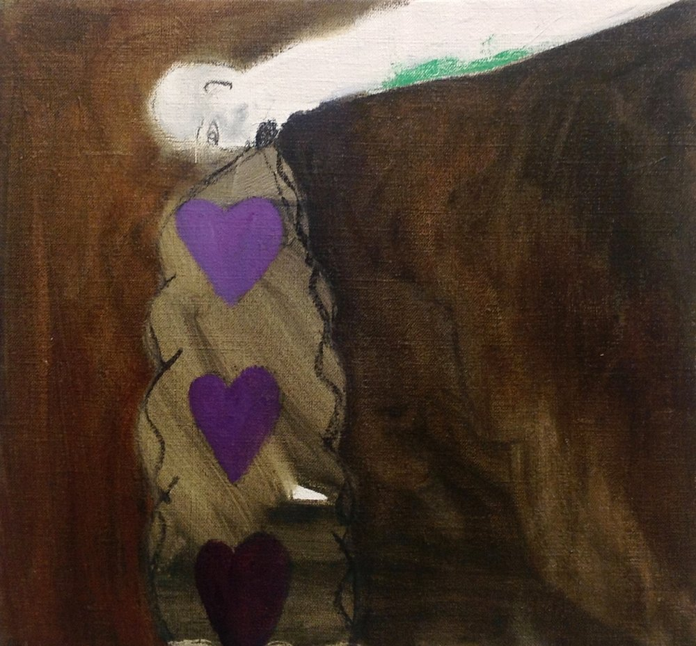 "Barfing Turds of Hearts   oil and charcoal on linen  13"" x 12""  2013"