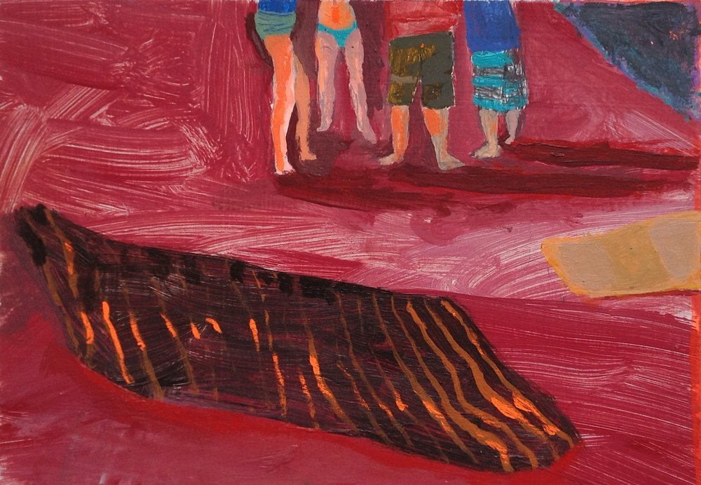 "Beach Blanket   acrylic and pencil on paper  4 1/2"" x 6 1/2""  2015   Unavailable"