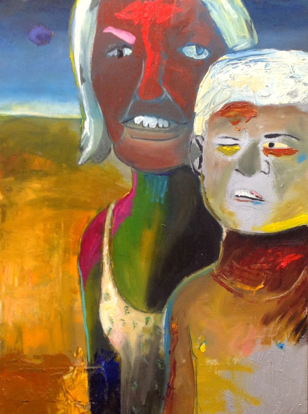 "Good-lookers On The Beach   acrylic, spray paint, and oil on canvas  24""x18""  2013"