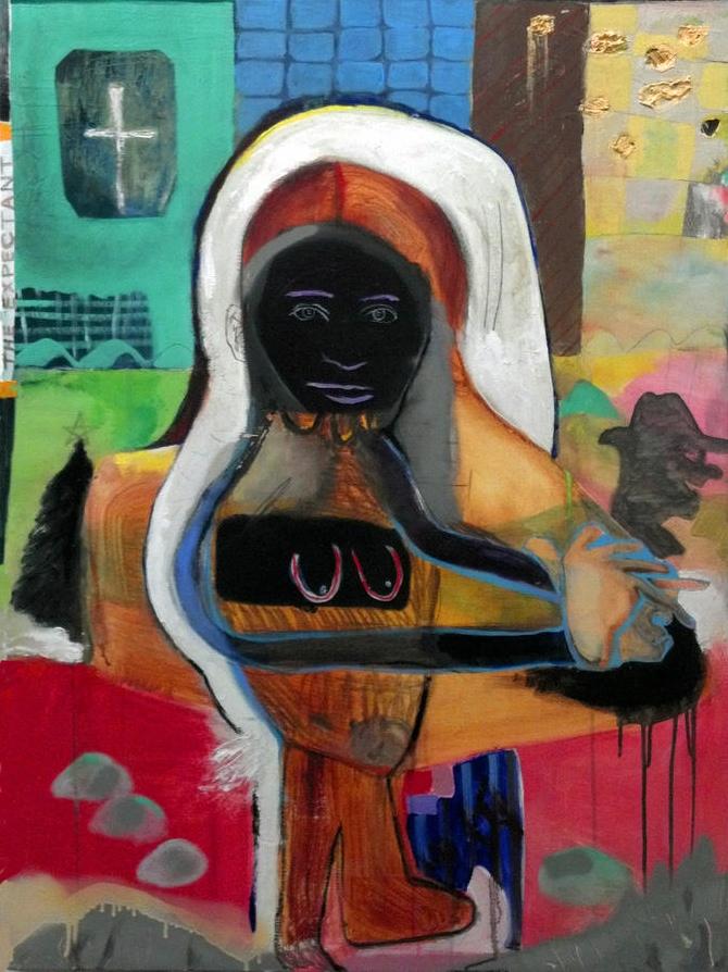 "The Expectant   oil, acrylic, spray paint, pencil and charcoal on canvas  40"" x 30""  2012   A"