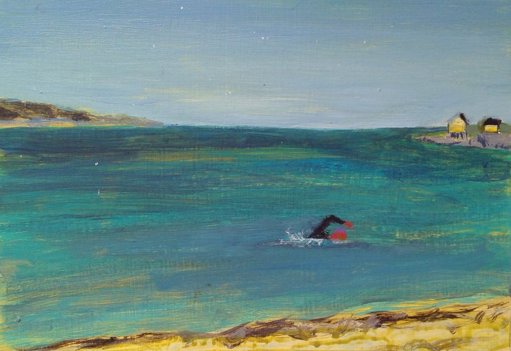 "Willard Beach Swimmer   acrylic on paper  6"" x 8""  2015   Unavailable"