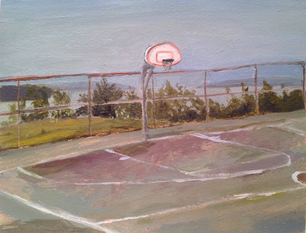 "Basketball Court At Eastern Promenade   acrylic and pencil on paper  8"" x 11""  2015   Unavailable"