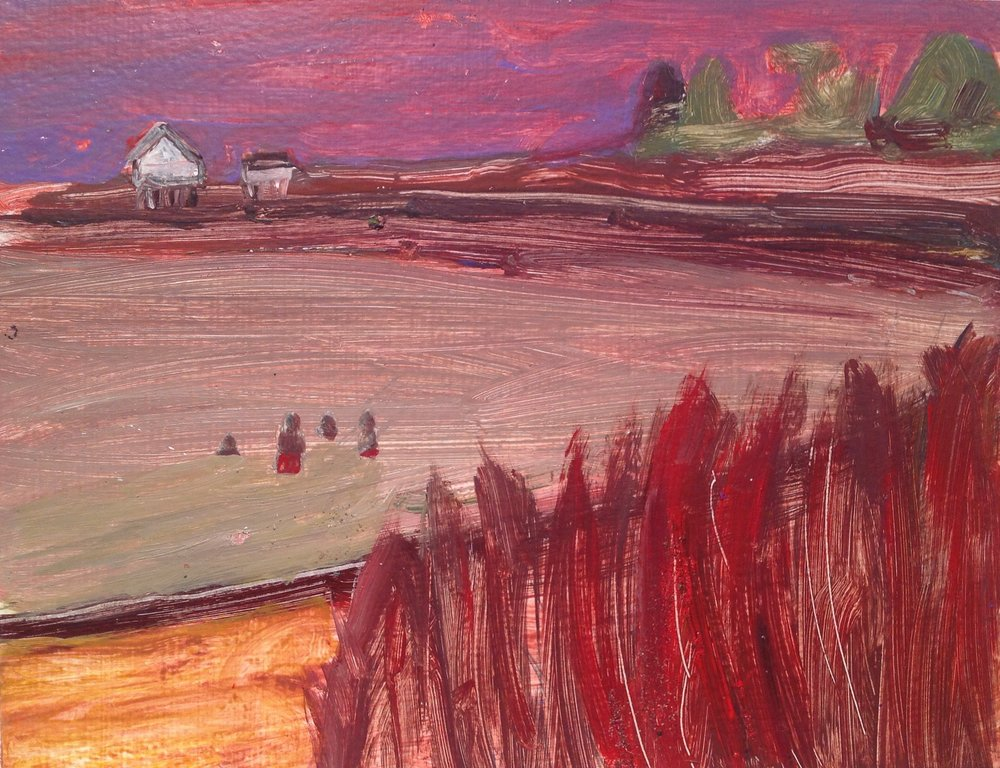 "Willard Beach Boys   acrylic on paper  10"" x 12""  2015   Unavailable"