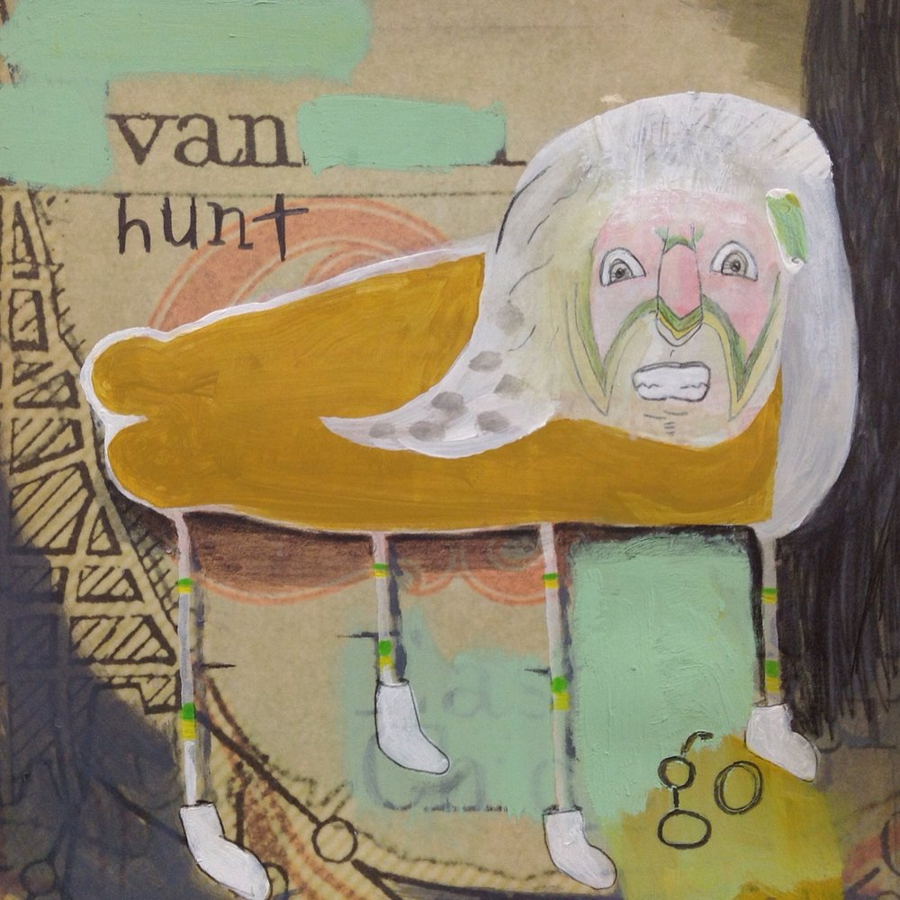 "Van Hunt   acrylic and pencil on record cover  11 3/4"" x 11 3/4""  2014"