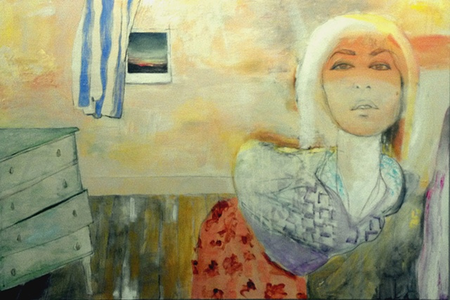 "Paris or Whatever   acrylic, charcoal and pencil on canvas  36"" x 24""  2012"