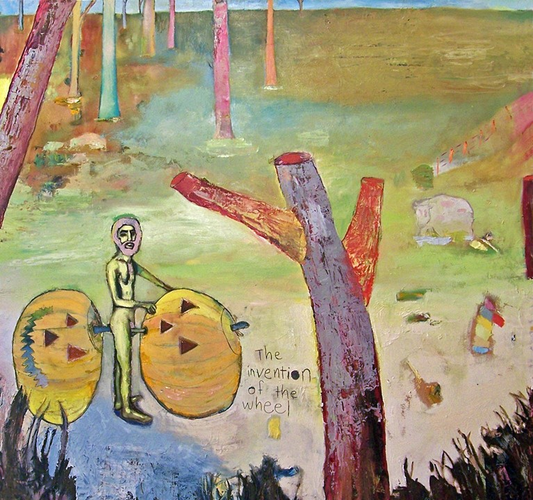 "The Invention Of The Wheel Was Bad   oil, acrylic and pencil on birch  48"" x 48""  2010   Unavailable"