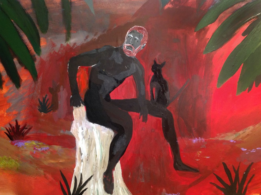 "Man With Cat On Island Just Watching The Bombs Drop   acrylic on mat board  15 1/2"" x 23""  2017   Unavailable"