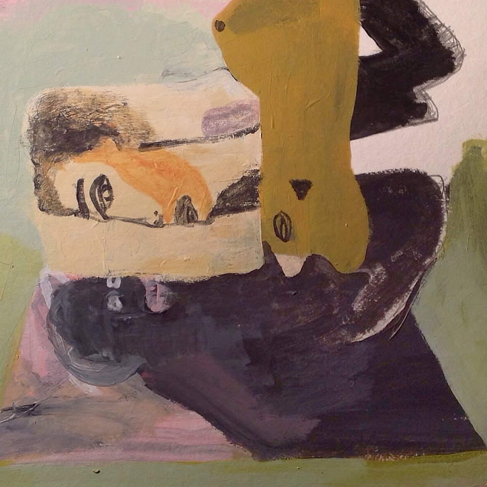 "Threesomes Are Scary   acrylic on paper  12"" x 12""  2018   Unavailable"