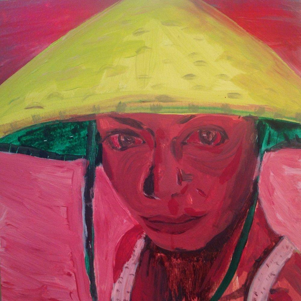 """Girl in Yellow Hat   acrylic on panel  10"""" x 10""""  2018"""