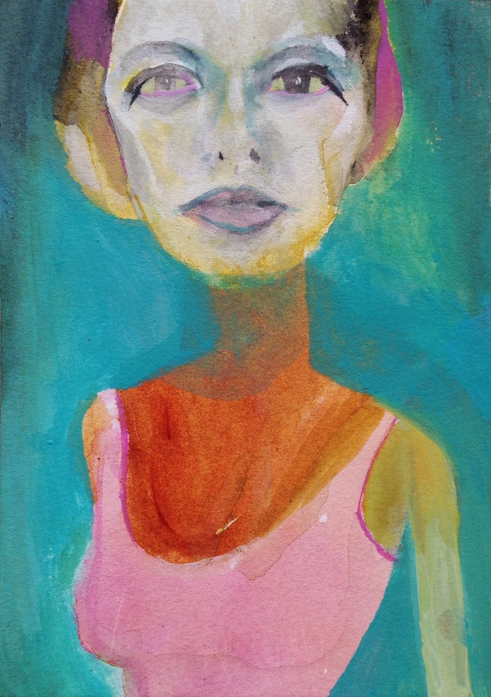 """Girl, You Got Some Skinny Arms   acrylic and watercolor on watercolor board  5""""x7""""  2018   SOLD (Unavailable)"""