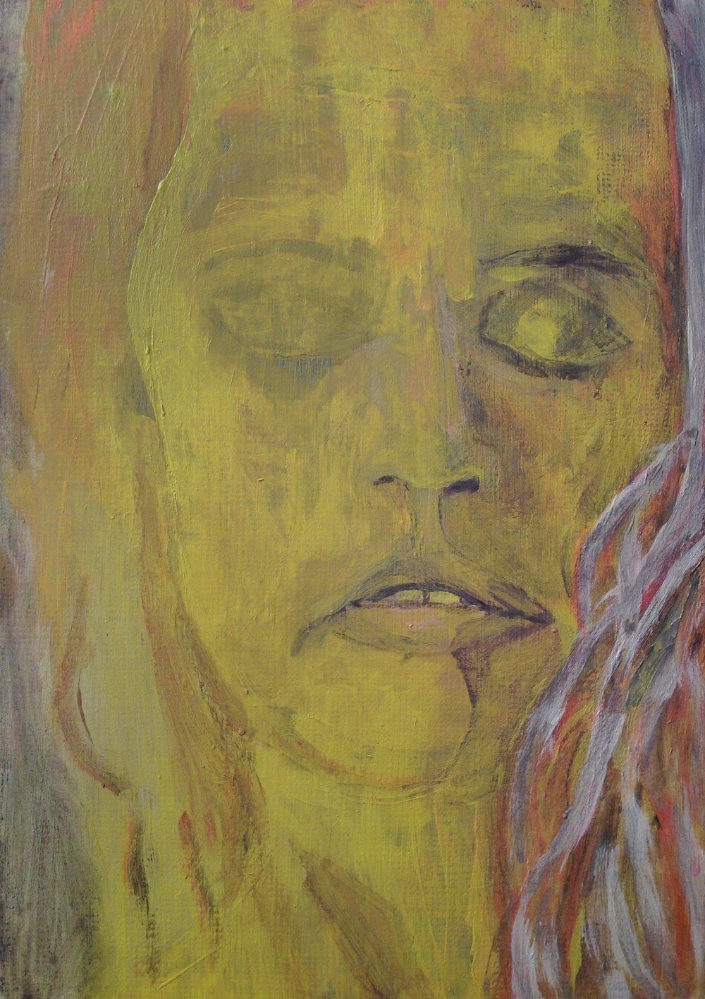 "Red-head   acrylic on canvas board  5""x7""  2018"