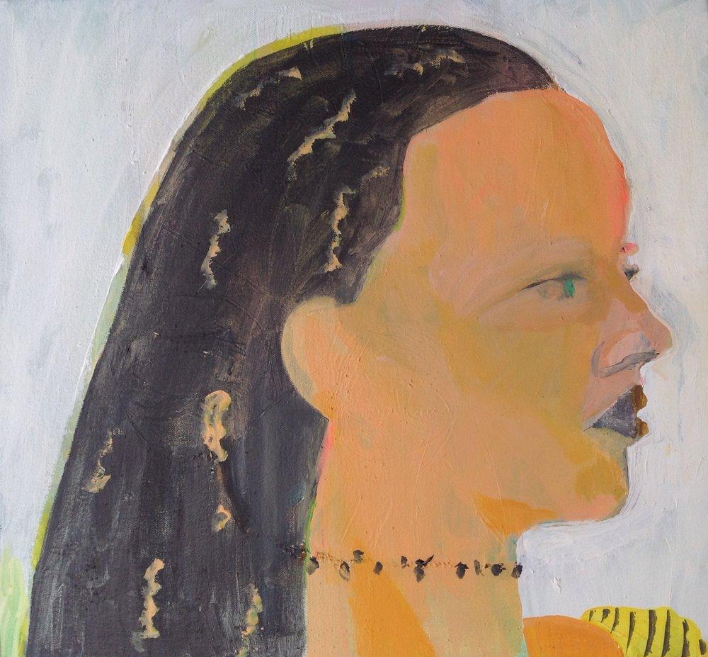 """Beach Girl With Stripes   acrylic on canvas  15 3/4"""" x 17""""  2018"""