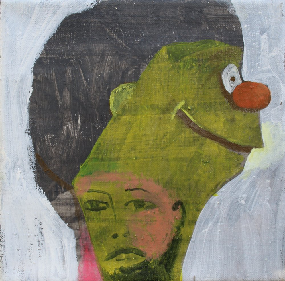 "Man Hiding From Day Job   acrylic on linen  8"" x 8""  2018   AVAILABLE"