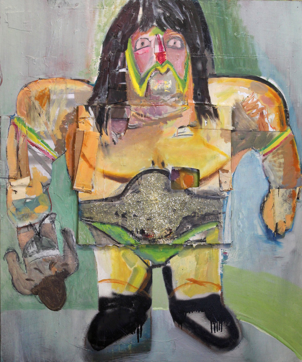"The Warrior   acrylic, oil, cardboard, glitter, wood, screws on canvas  48""x36""  2018   Available"
