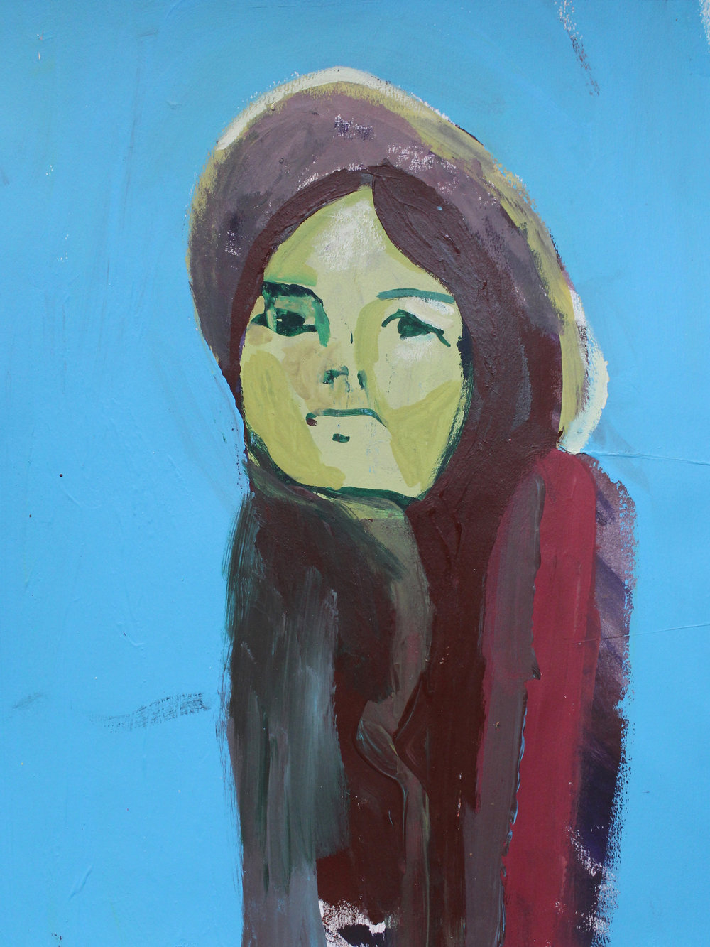 "Girl In Blue   acrylic on paper  12"" x 8 3/4""  2018   Available through The Red Arrow Gallery, Nashville, TN"