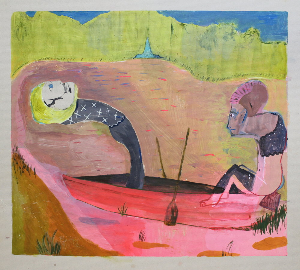 "Up A Creek Without Arms   acrylic on mat board  14 1/2"" x 15 1/2""  2018   Unavailable"