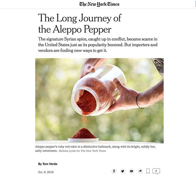 Mangal owner, Nidal Hajomar, was featured in this @nytimes article about Aleppo peppers! 🌶 (Link in bio)