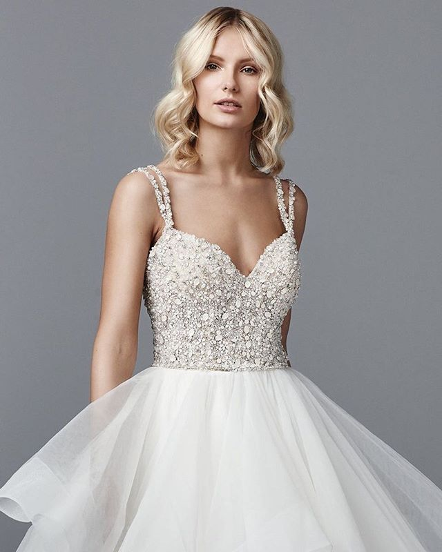 A textured top is the perfect accomplice to a textured ball skirt  #Bridal #WeddingDress  @maggiesotterodesigns