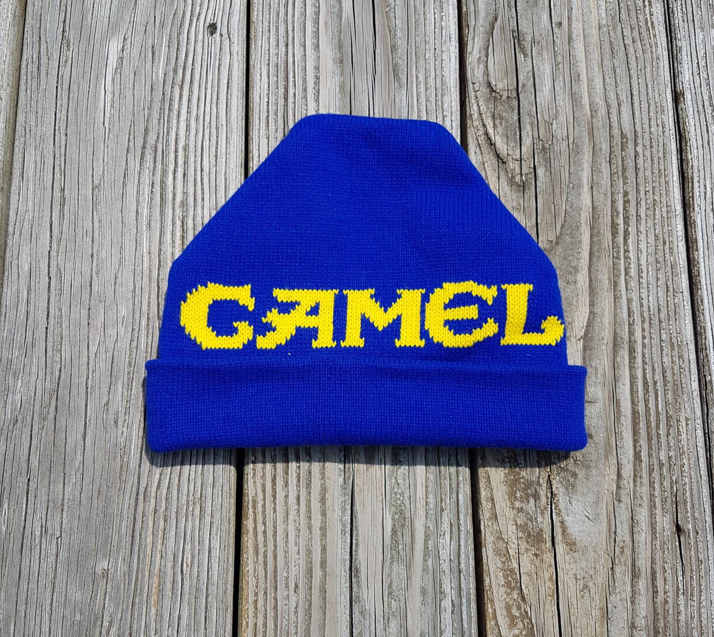 74e11cda5a57e 20180624 113517.jpg. Vintage 90s Camel Cigarettes Blue Beanie Hat Cap