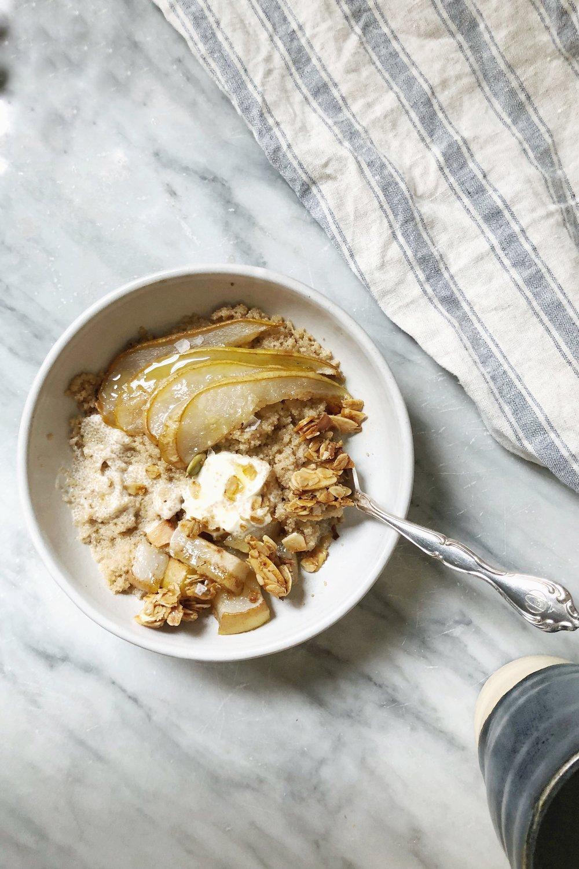 amaranth porridge with ginger, honey-roasted pear + rosemary granola