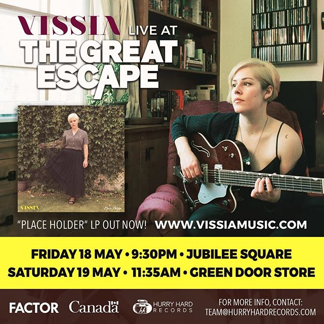 @vissia_3 heads to @greatescapefest next week! See her and her full band in Brighton: . . Friday 18 May / 9:30pm / Jubilee Square Saturday 19 May / 11:35am / Green Door Store . . #TGE2018 #VISSIA #HurryHardRecords #PlaceHolder #canadianmusic