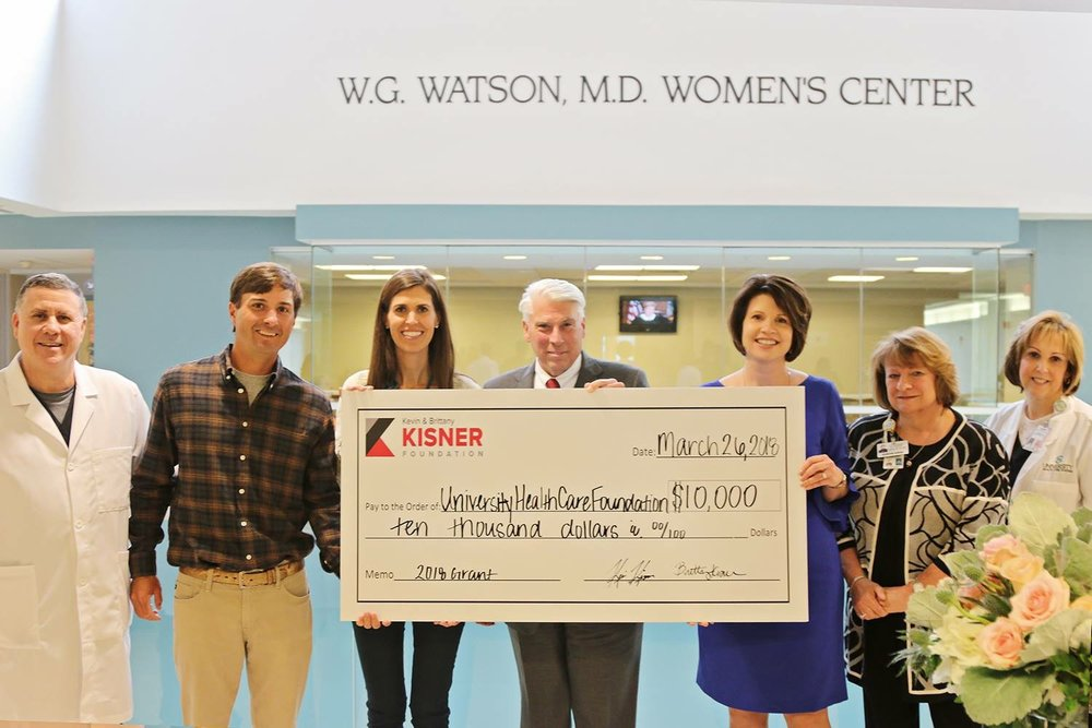 University Hospital Foundation   The Kisner Foundation awarded $10,000 to the NICU's Donor Milk Program at University Hospital.