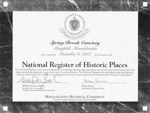 National Register - On December 6, 2007 Spring Brook Cemetery was accepted for inclusion in the National Register of Historic Places.