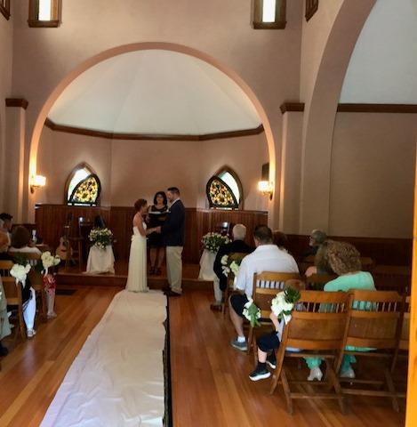 The happy couple exchange vows.