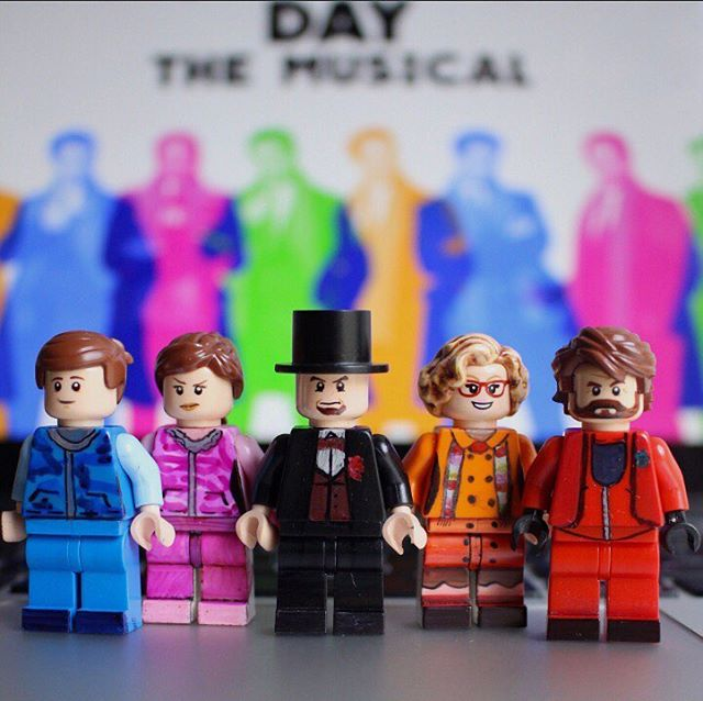 Look, Dad, I'm a Lego! Well, Chubby Man is. Serving you a skeptical look in the red. #legos #broadwaybricks #childhooddreams @groundhogdaybwy