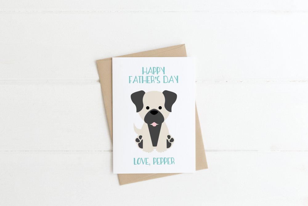 Pug Dog Dad Father's Day Card