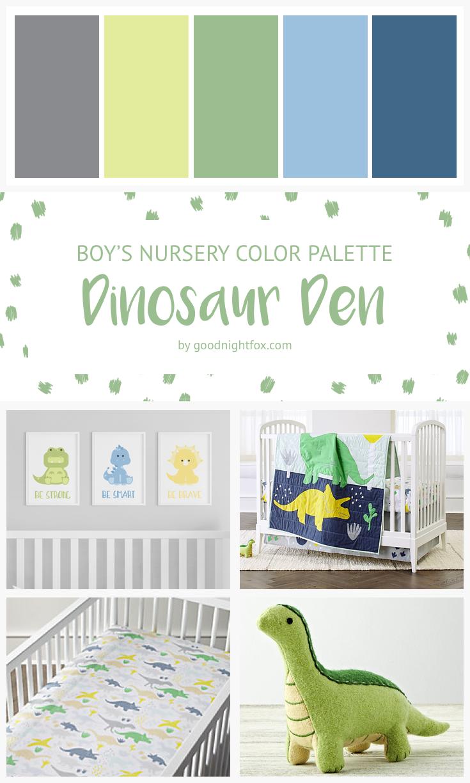 Dinosaur Boy Nursery Color Palette Goodnight Fox
