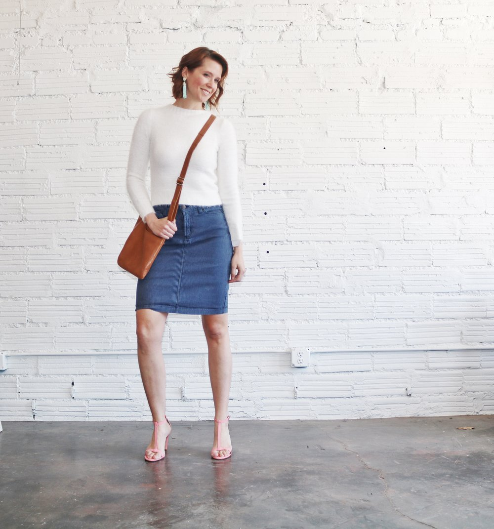 - Denim skirts are absolutely making a comeback, and this spring season especially you're going to want a denim pencil skirt.  This striped number from Not Your Daughter's Jeans can be dressed up or down, and transition right into summer.  Top with this cozy white sweater from Copper Key, and then add a little bit of color with these coral sandals from Antonio Melani (or again... balance with booties when its colder).  I also cannot love this small cross body from Radley London more for both work and play.  I  also added a bit more color and life to this outfit with fun statement earrings from BaubleBar.