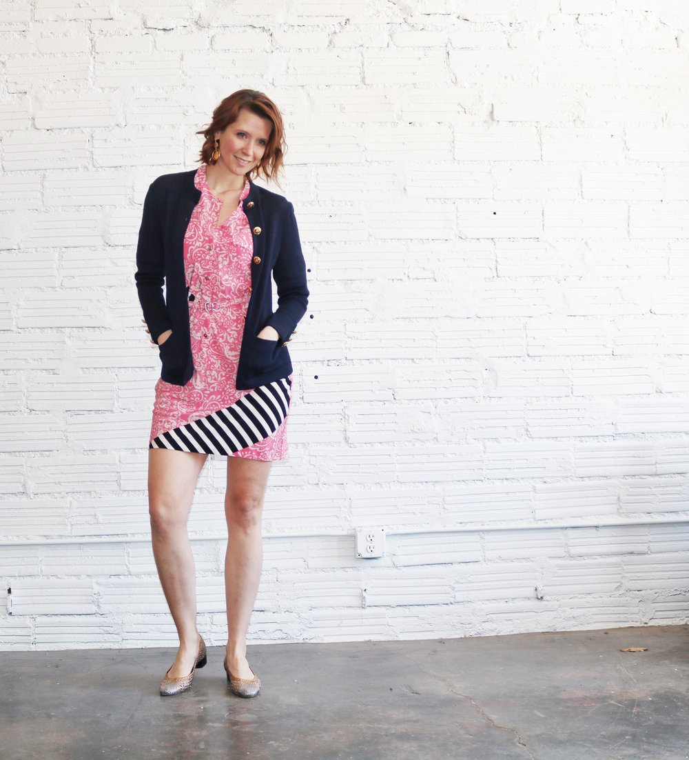 - A bright Spring dress and denim like from above are a typical go-to for transitioning, but consider an oversized cardigan for a more professional Spring look.  I am OBSESSED with this vintage navy blazer/cardigan from St. John's (hello oversized gold buttons) and could not be more comfortable in this shift dress from Yoana Baraschi.  I added these Brungate metallic flats (because they're so fun, and also hella comfortable), but staple nude pumps or flats would also complete this look well.