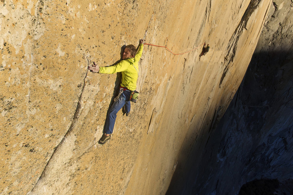 Tommy Caldwell on Pitch 15  The Dawn Wall, or the Wall of the Early Morning Light, gets this apt name because it catches the first light as the sun breaks over the Sierra Nevada mountains. On the most difficult pitch of the Dawn Wall, Tommy Caldwell must climb sideways in a long and strenuous traverse.  Explore the Street View here.