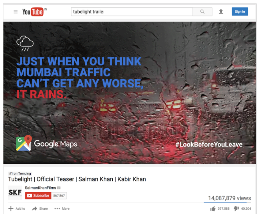 Dynamic, contextual ads.  Our YouTube ads would change based on the city, traffic conditions, and ultimately weather conditions of the city where the ad ran to make the ad as relevant as possible for the user.