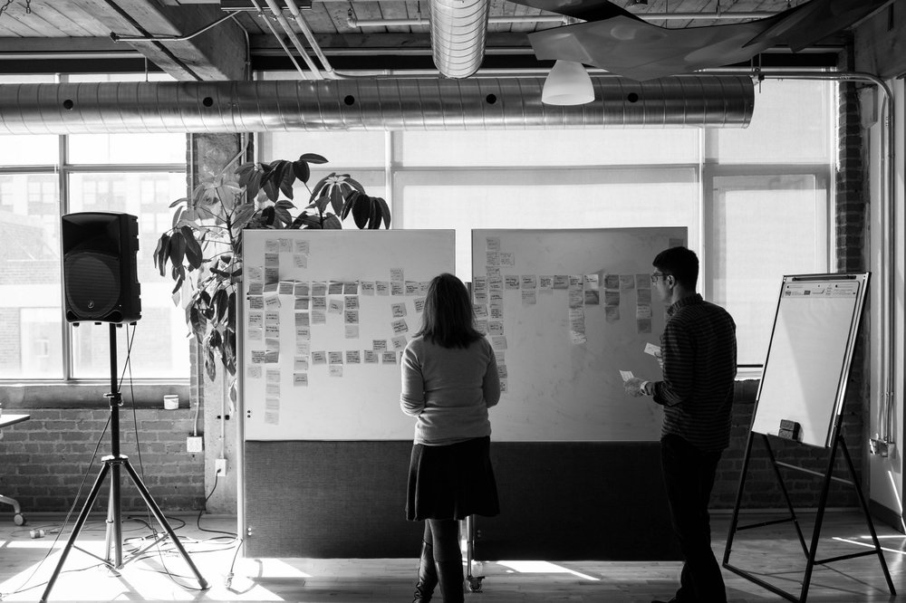 Product Managers participating in affinity diagramming in the Mozilla Toronto office