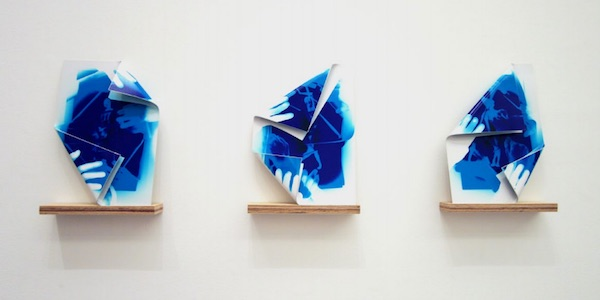 Folds, I, II, III,  2013 photographic paper and aluminum Each 35 x 45 cm