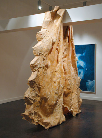 V, 2012. Latex, rubber, cheesecloth, wood 90 x 74 x 19 inches